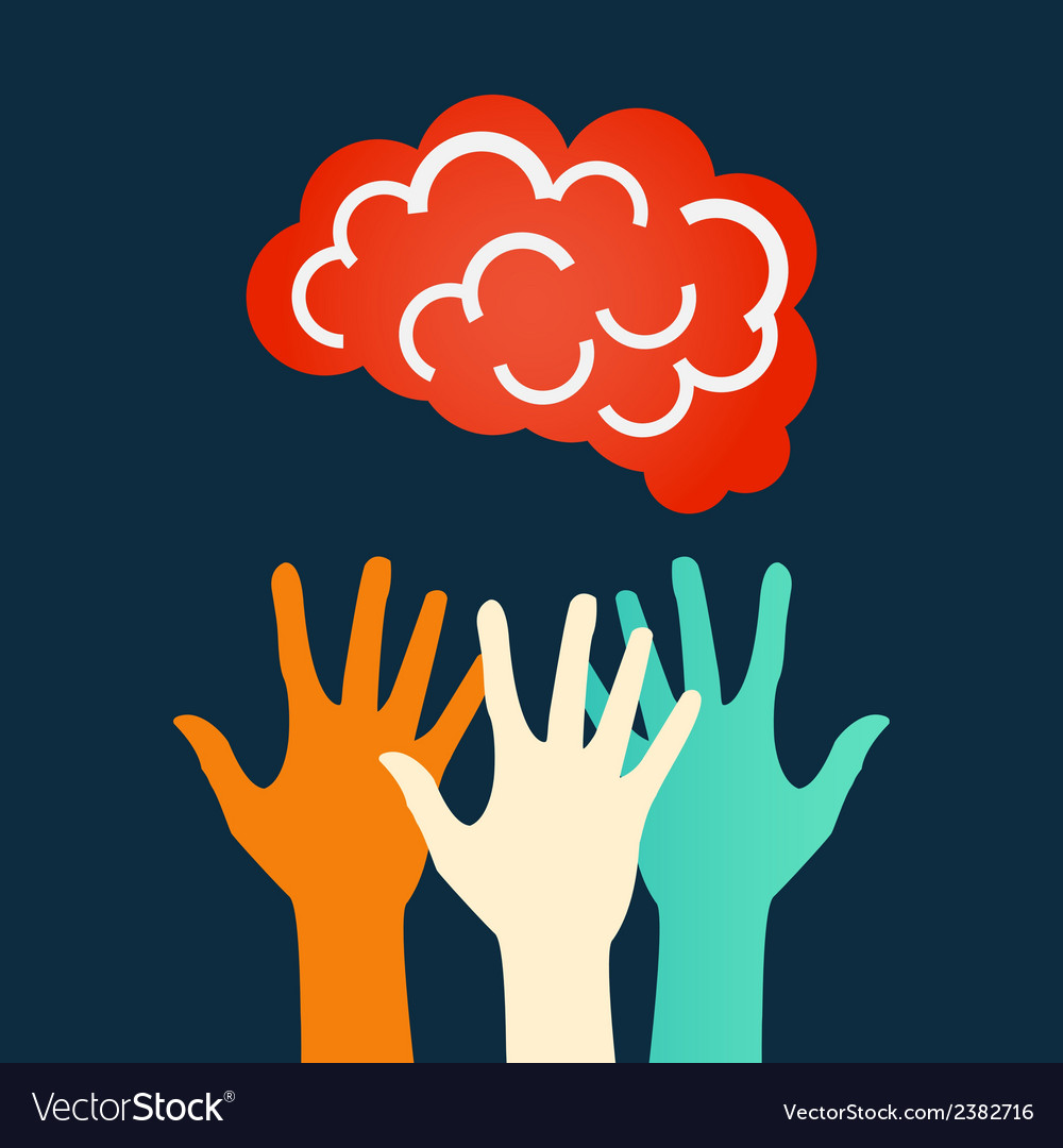 Hands reaching for the brain design vector | Price: 1 Credit (USD $1)