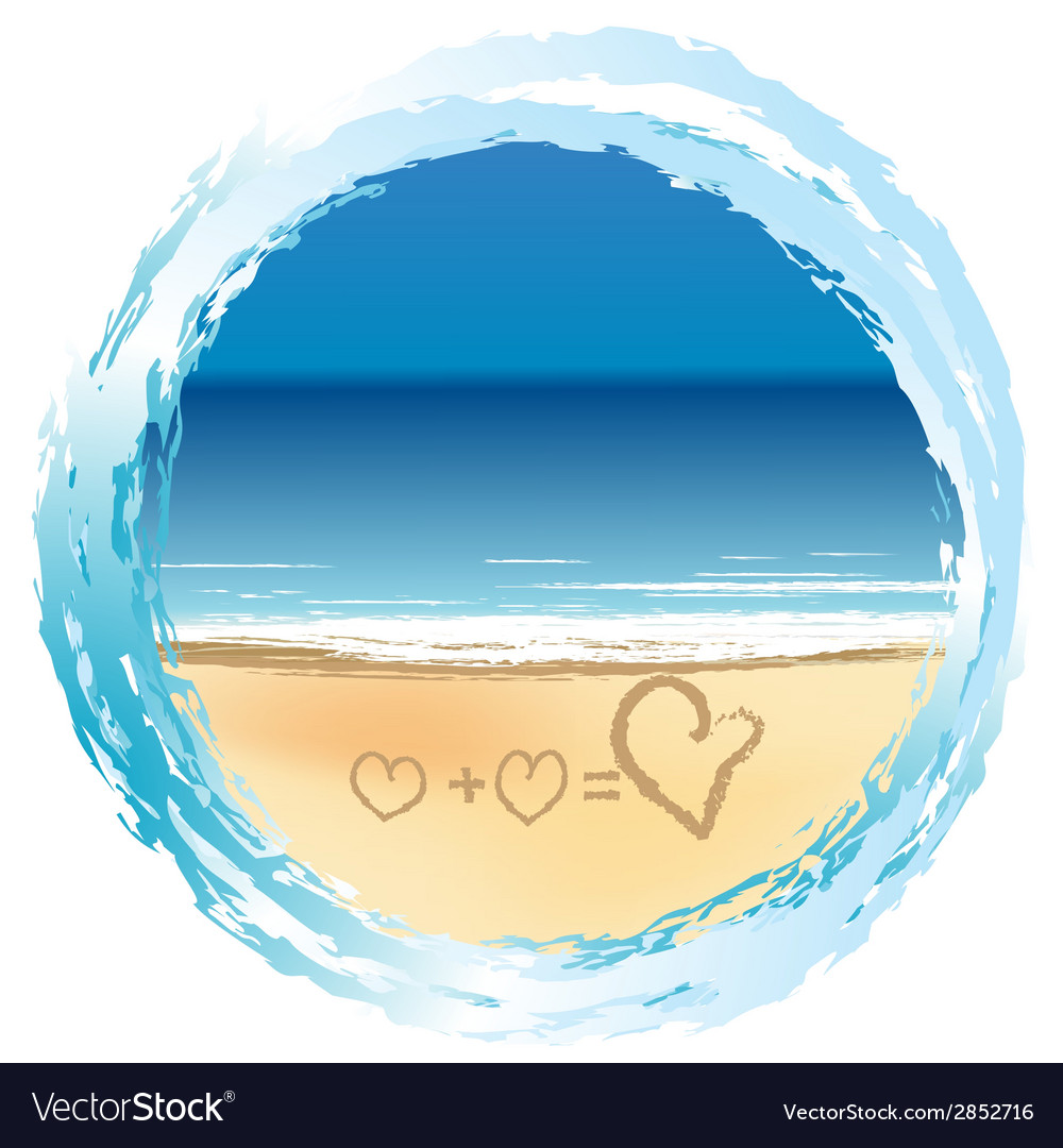 Love concept with hearts drawn on the sand vector | Price: 1 Credit (USD $1)