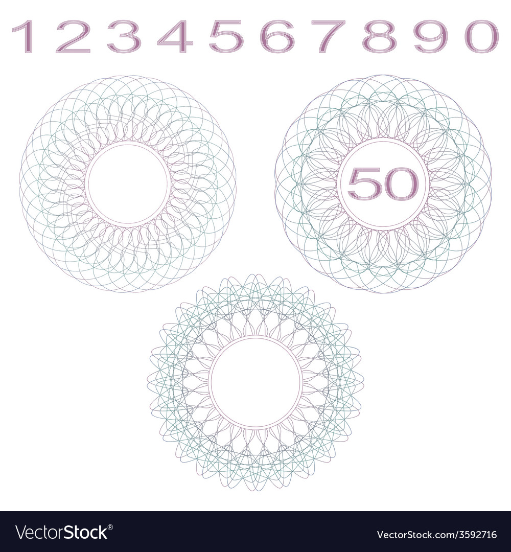 Rosettes and numbers vector | Price: 1 Credit (USD $1)