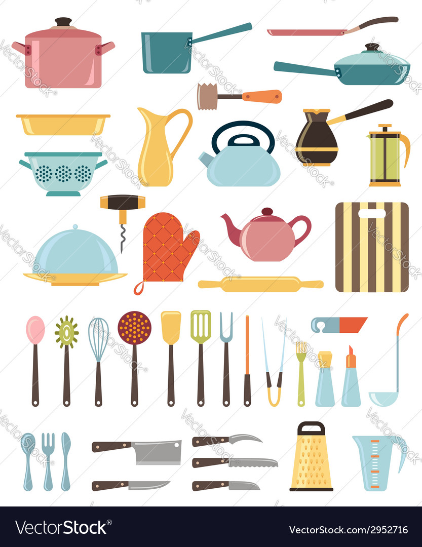 Set of kitchen utensil and collection of cookware vector | Price: 1 Credit (USD $1)