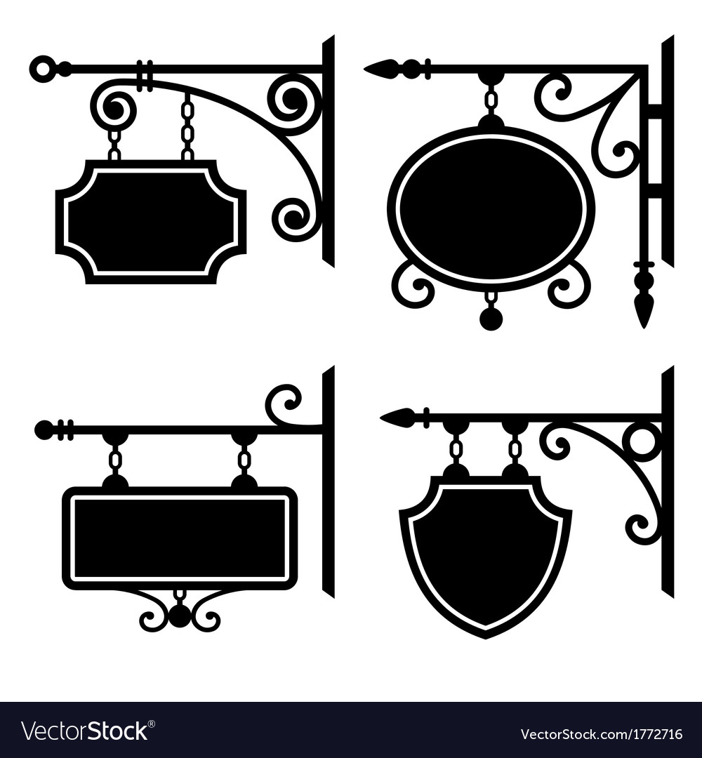 Set of retro graphic forged signboards vector | Price: 1 Credit (USD $1)