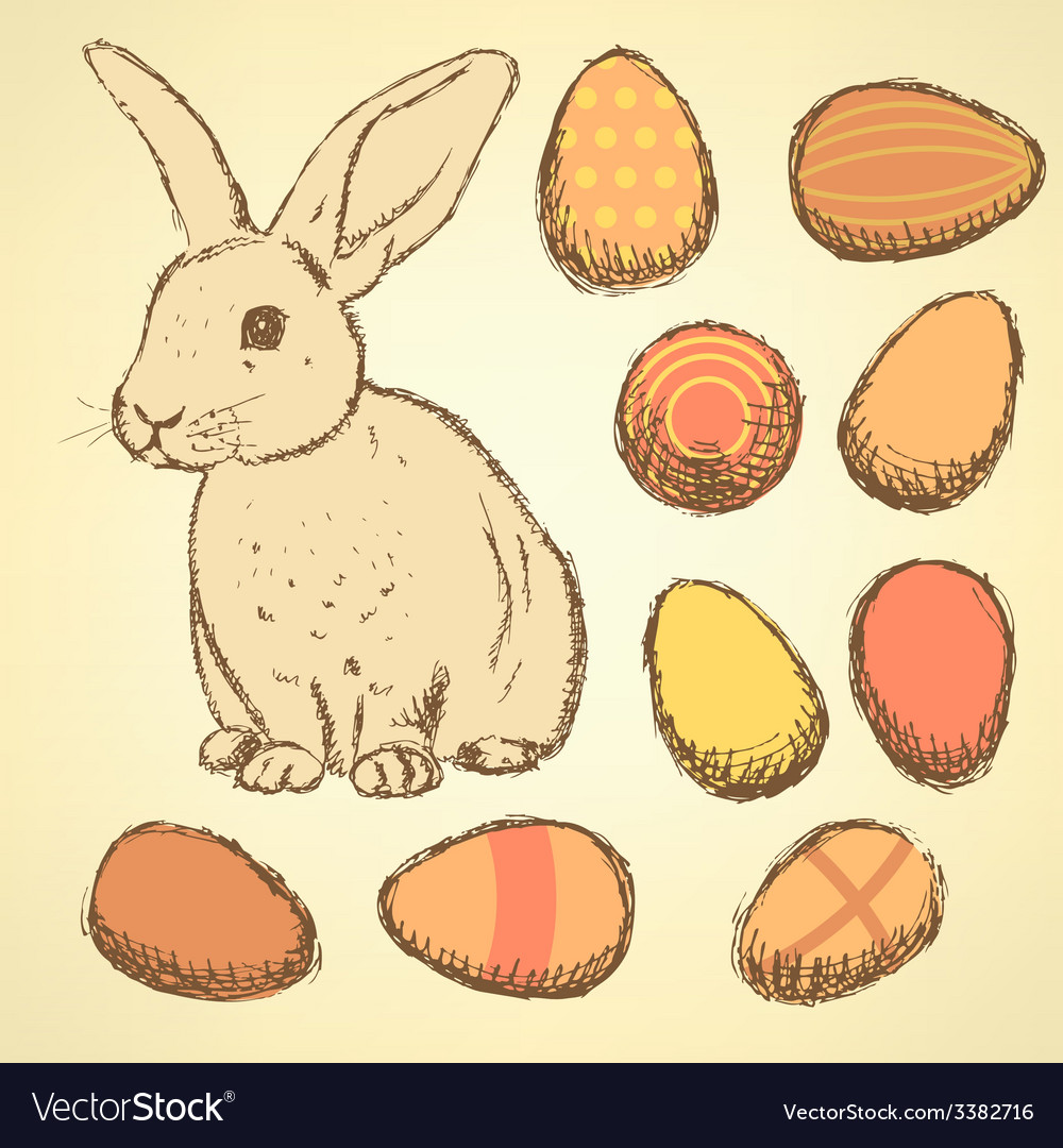 Sketch easter eggs and bunnyset in vintage style vector | Price: 1 Credit (USD $1)