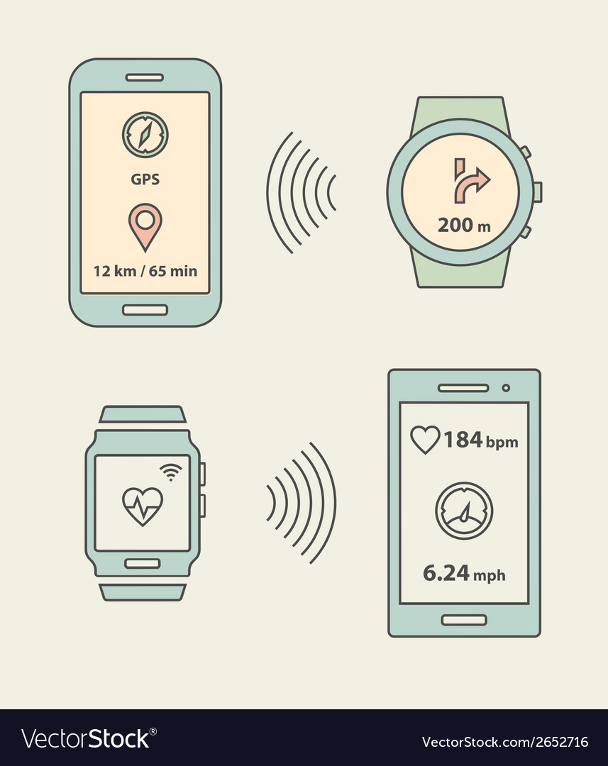 Smartwatches and smartphones communication vector | Price: 1 Credit (USD $1)