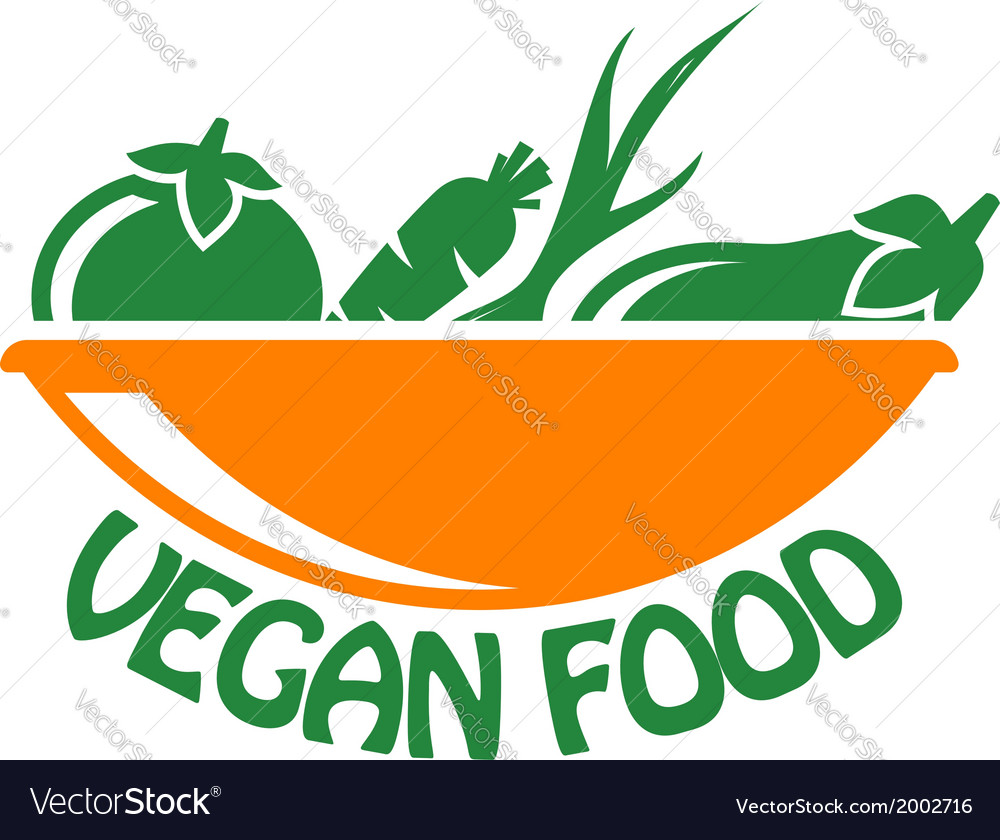 Vegan food icon with vegetables vector | Price: 1 Credit (USD $1)