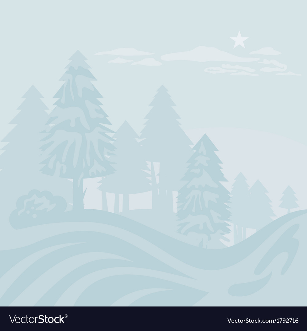 Winter foggy landscape vector | Price: 1 Credit (USD $1)