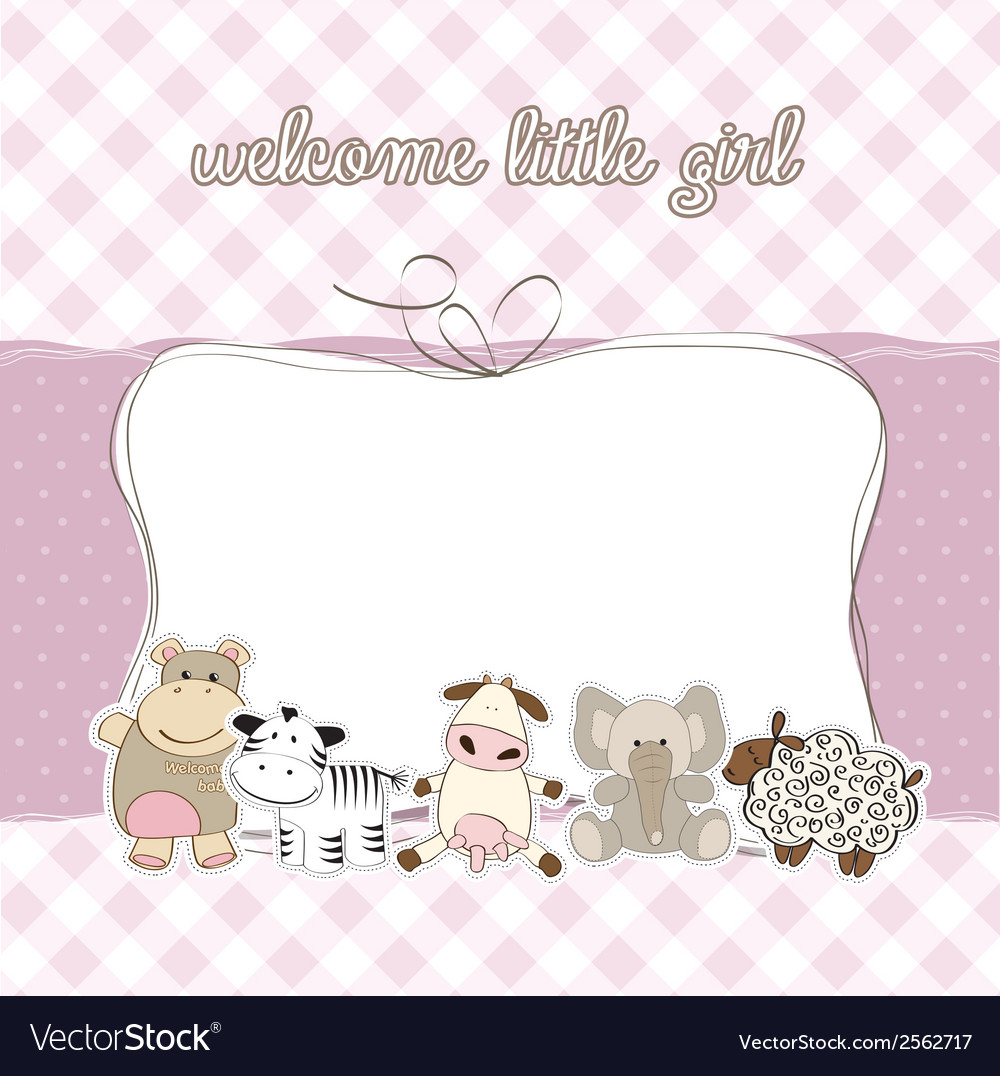 Baby girl shower card vector | Price: 1 Credit (USD $1)