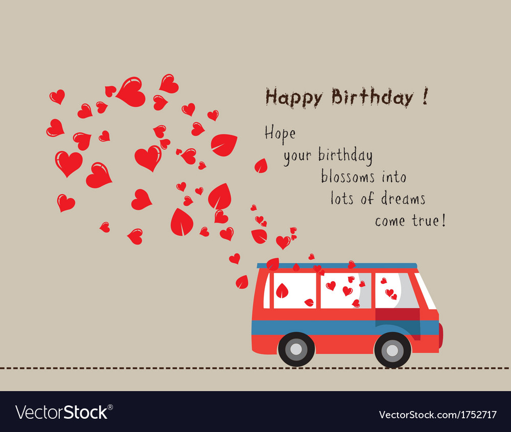 Happy birthday love bus with heart vector | Price: 1 Credit (USD $1)