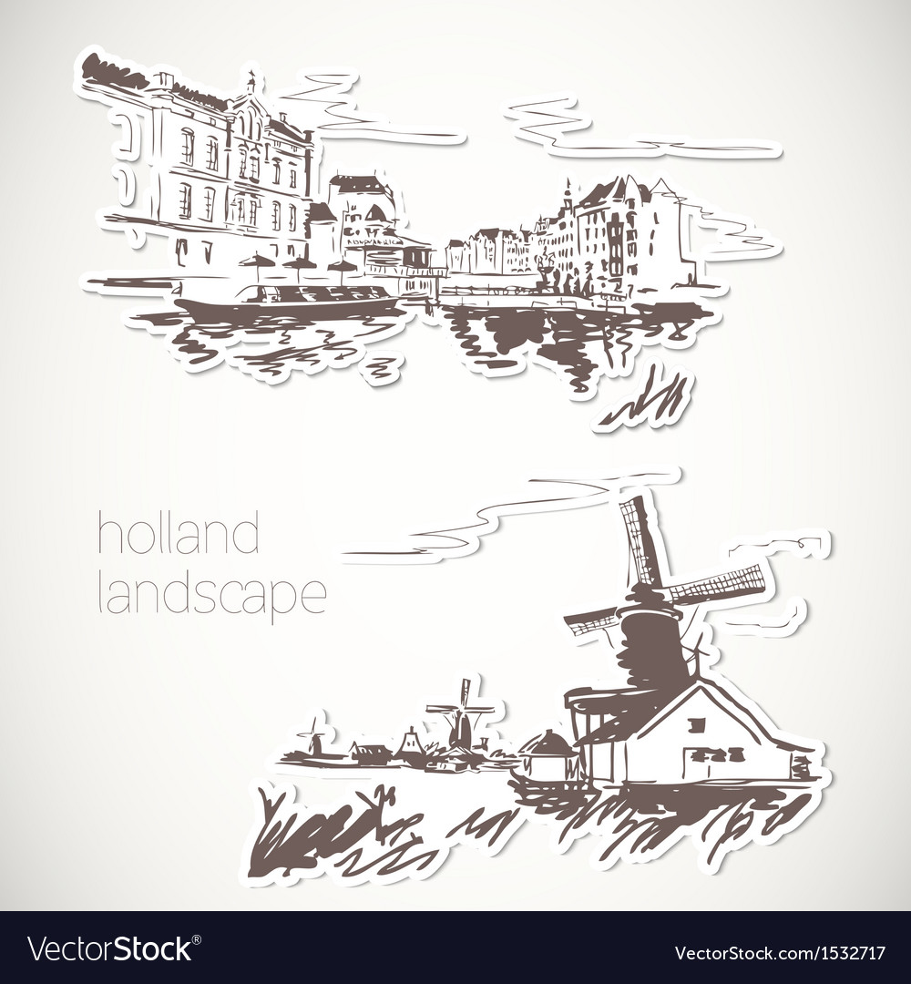 Holland hand drawn landscape in vintage style vector | Price: 3 Credit (USD $3)