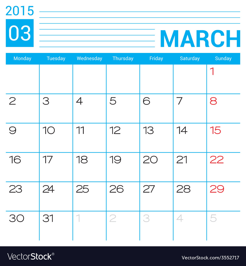 March 2015 calendar page template vector | Price: 1 Credit (USD $1)