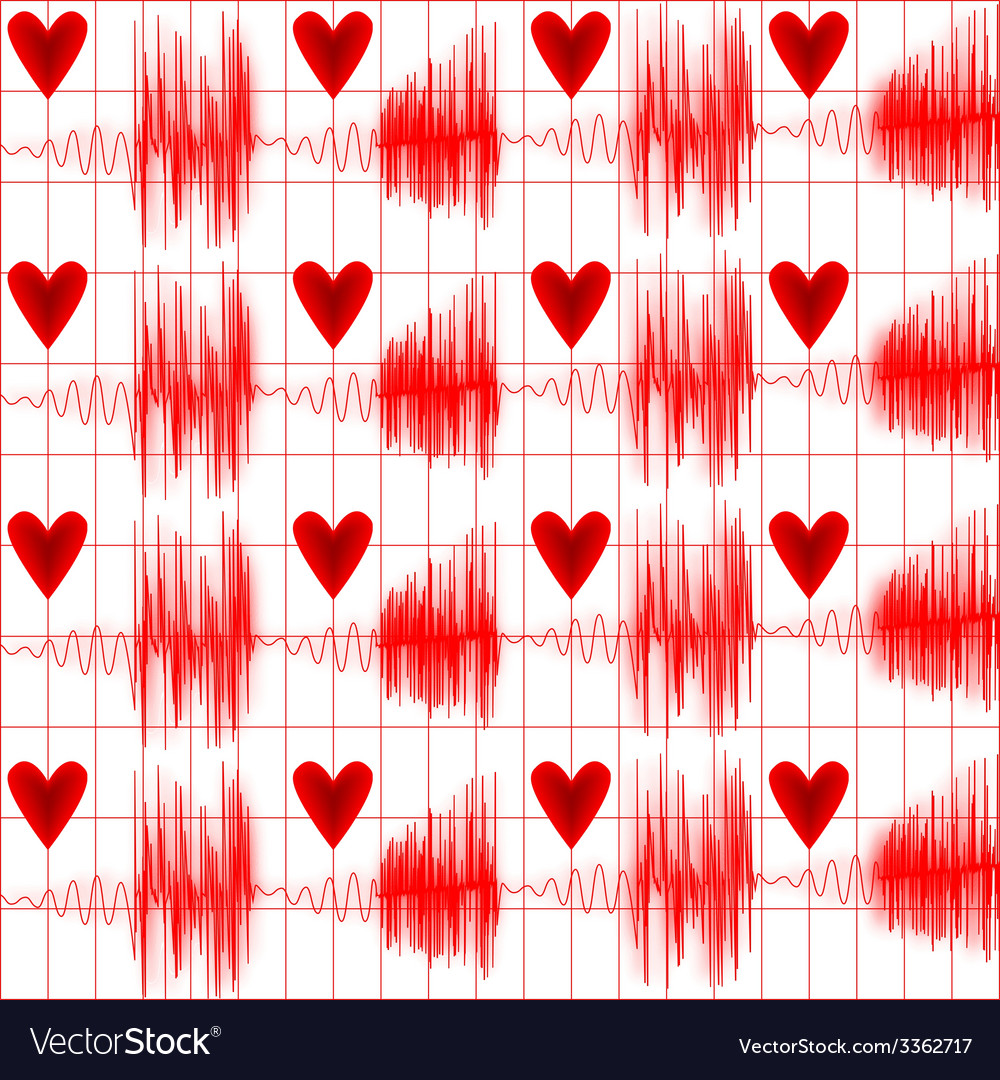 Medical seamless pattern cardiogram vector | Price: 1 Credit (USD $1)