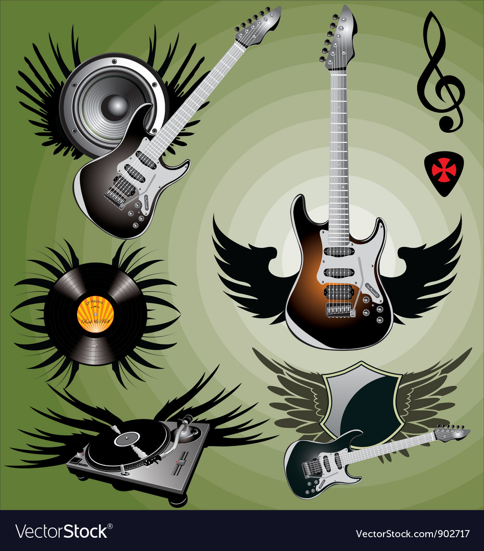 Music label with wings vector | Price: 1 Credit (USD $1)