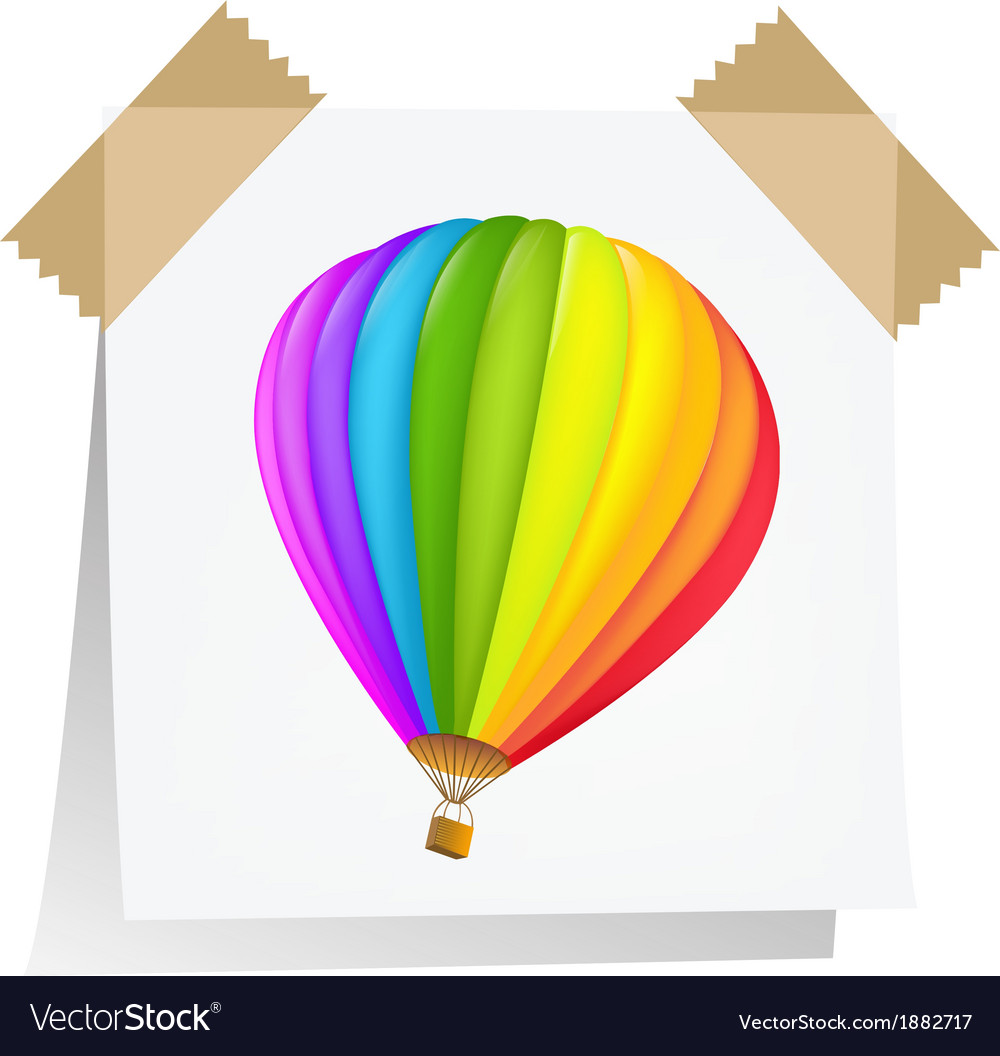 Notes paper with air balloon vector | Price: 1 Credit (USD $1)