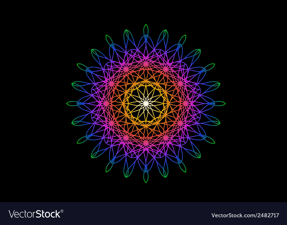 Rainbow flower in spirograph style on black vector | Price: 1 Credit (USD $1)