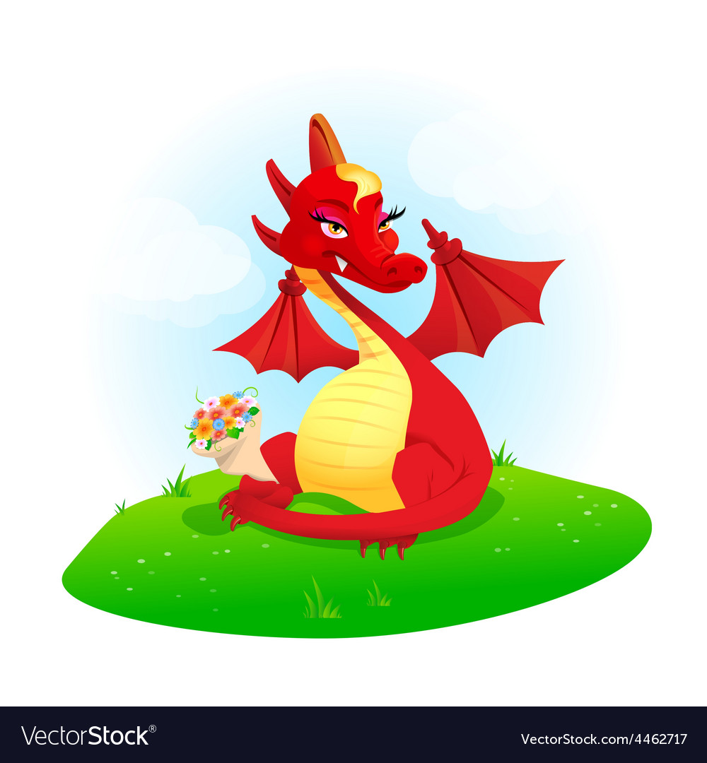 Red dragon with flowers vector | Price: 3 Credit (USD $3)