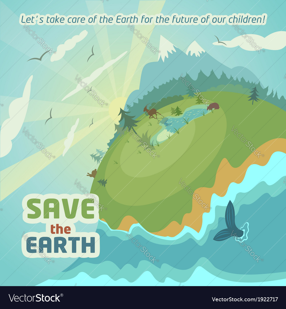 Save the earth virgin nature landscape vector | Price: 3 Credit (USD $3)