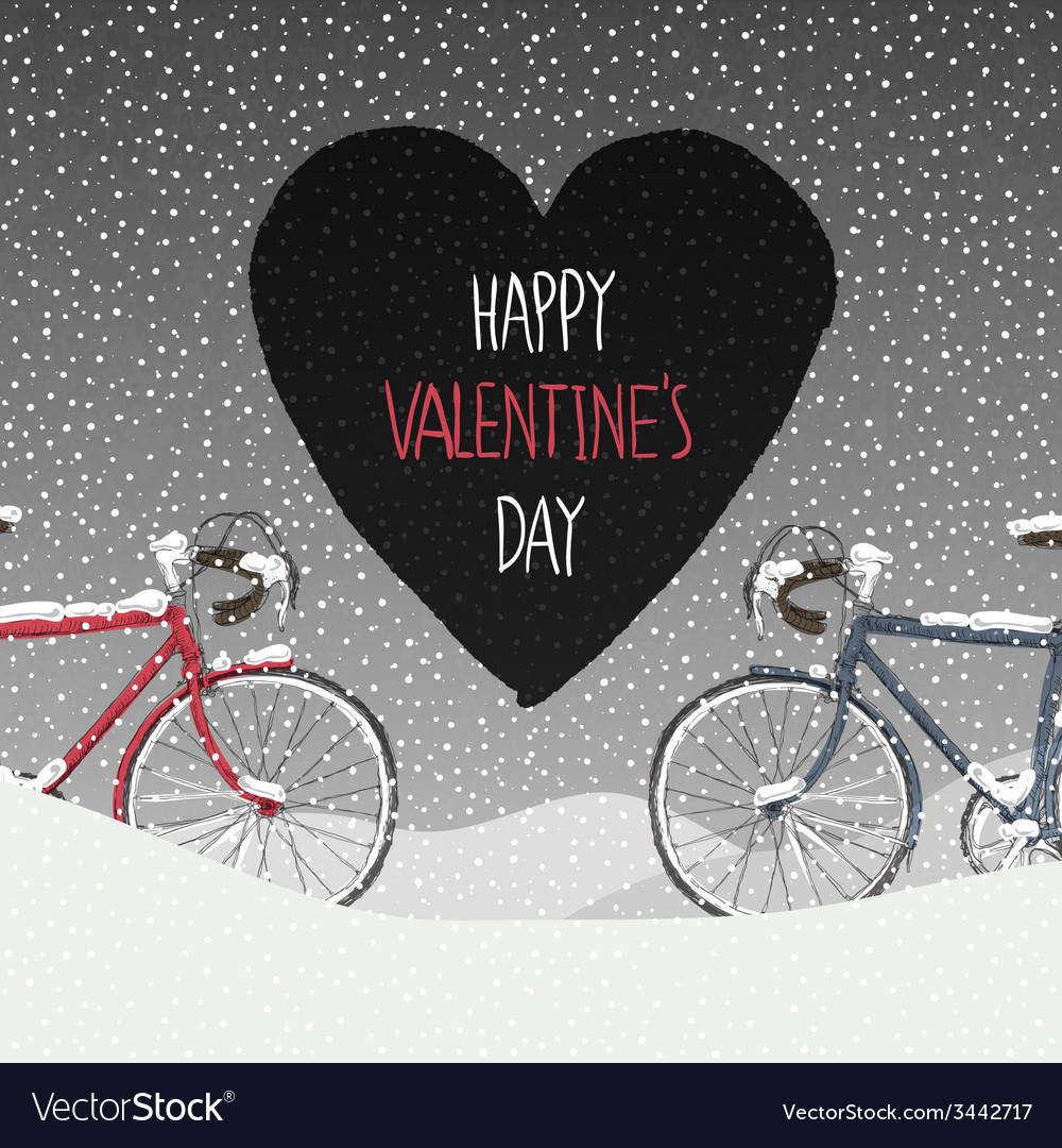Valentines card two bicycles vector | Price: 1 Credit (USD $1)