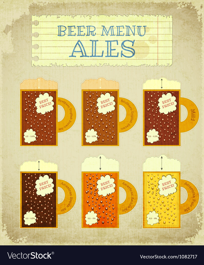 Vintage beer card ales vector | Price: 1 Credit (USD $1)