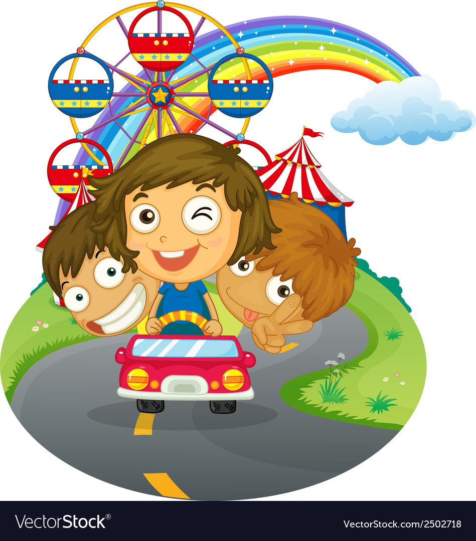 A vehicle with happy kids near the amusement park vector | Price: 1 Credit (USD $1)
