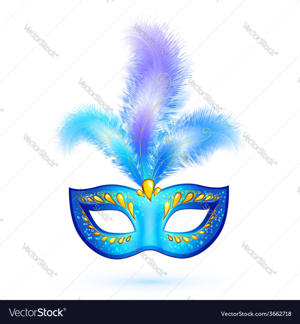 Blue isolated carnival mask with feathers vector | Price: 1 Credit (USD $1)