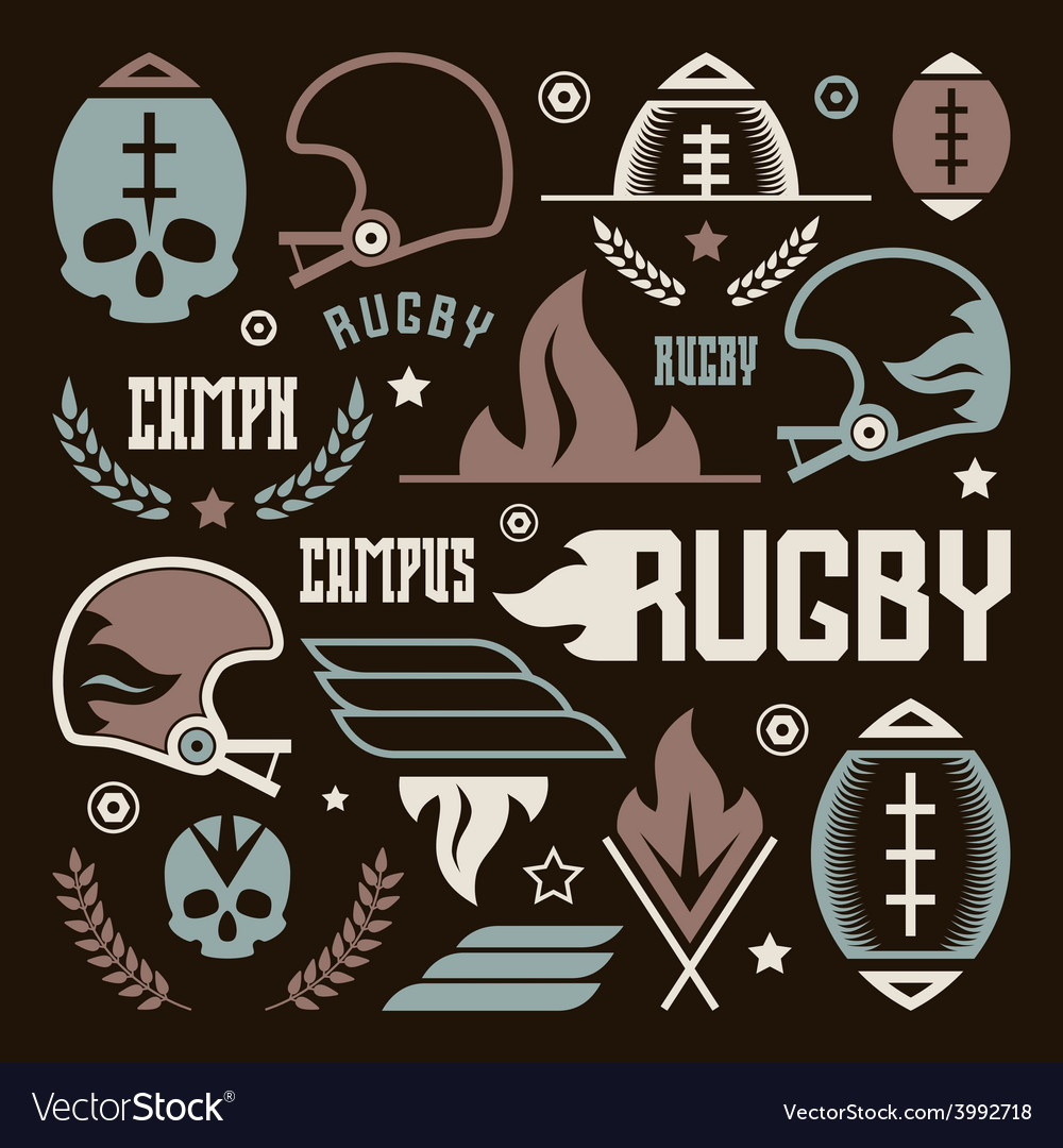 College rugby team badges vector | Price: 1 Credit (USD $1)