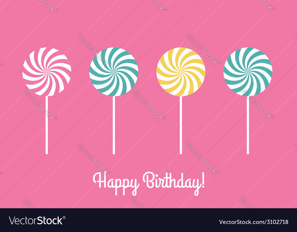 Happy birthday greeting card with lollipops vector | Price: 1 Credit (USD $1)