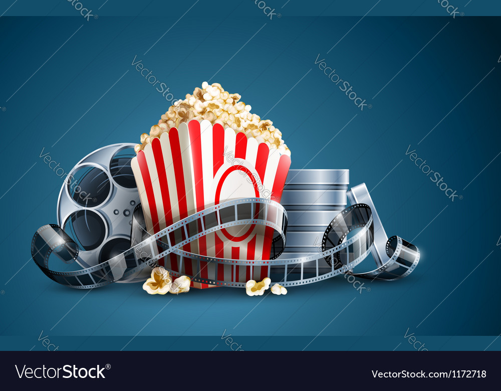 Movie film reel and popcorn vector | Price: 3 Credit (USD $3)