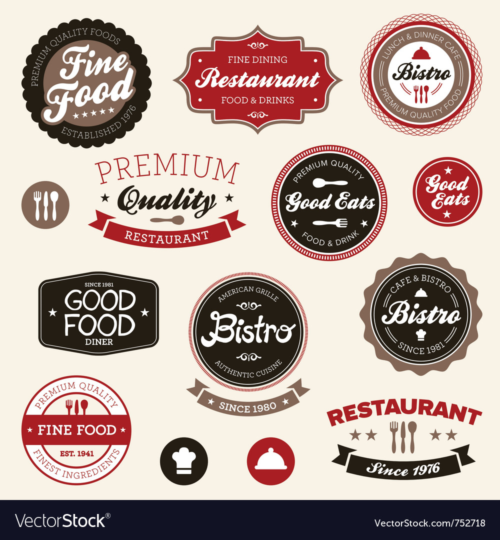 Restaurant badges and labels vector | Price: 3 Credit (USD $3)