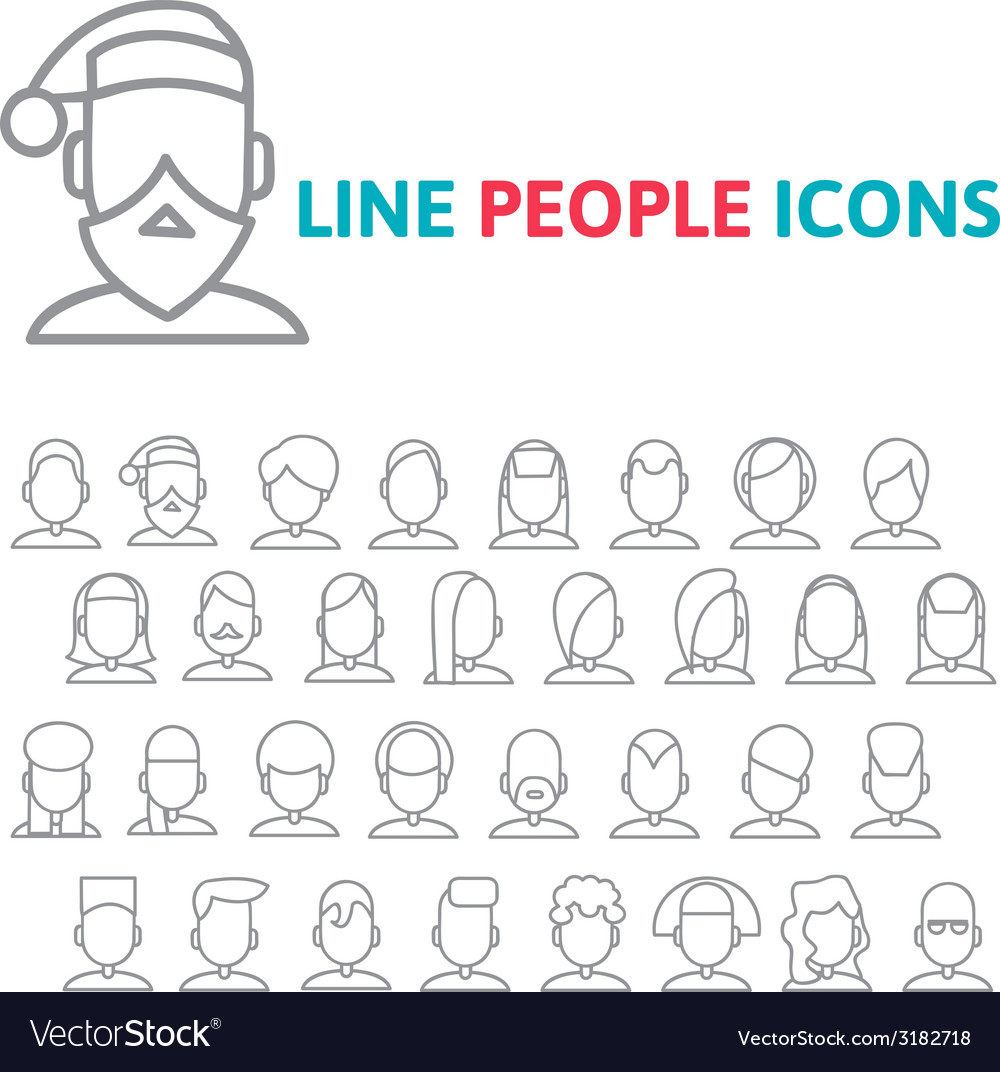 Set user line icons vector | Price: 1 Credit (USD $1)