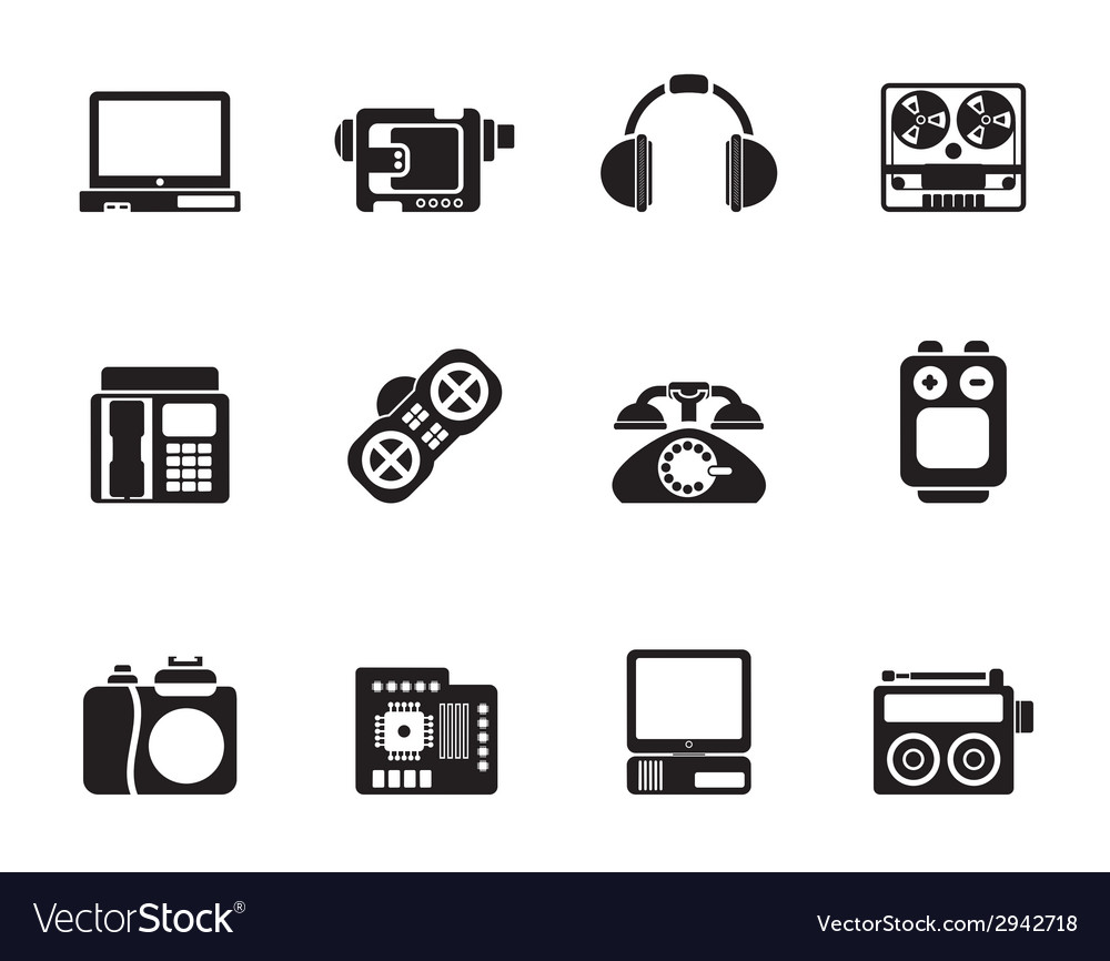 Silhouette media and technical equipment icons vector | Price: 1 Credit (USD $1)