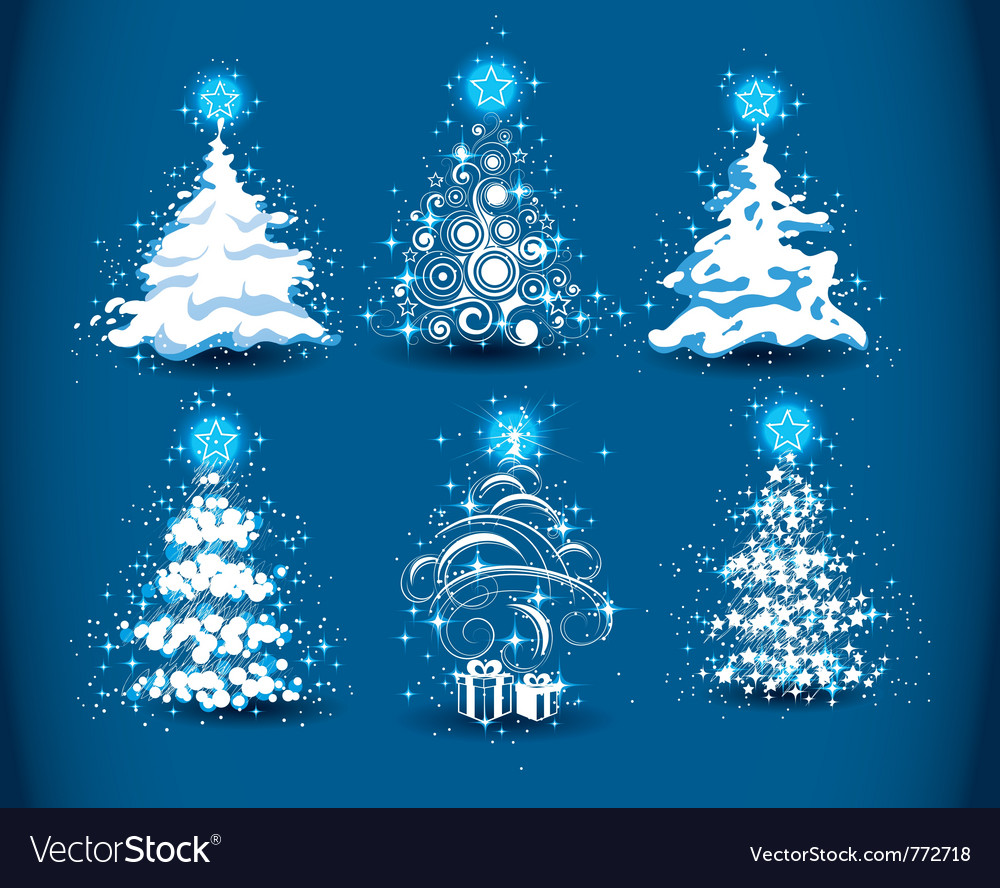 Snowy christmas trees vector | Price: 1 Credit (USD $1)
