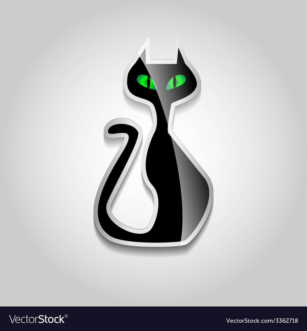 Sticker black cat vector | Price: 1 Credit (USD $1)