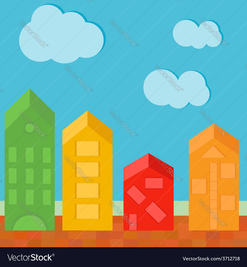 Townhouse in flat polygonal style colour vector | Price: 1 Credit (USD $1)
