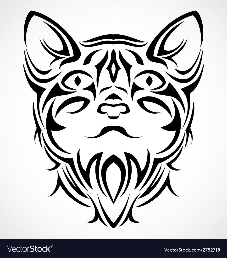 Tribal cat face vector | Price: 1 Credit (USD $1)