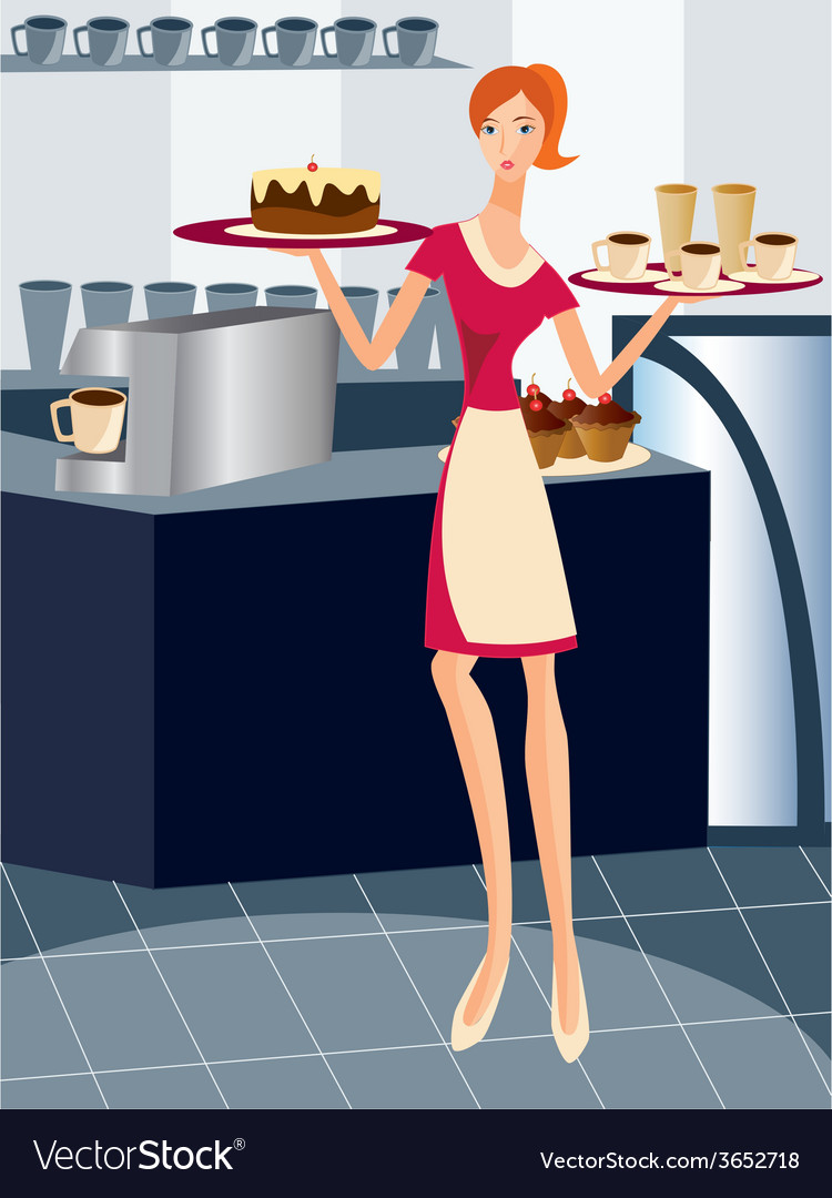 Waitress-working vector | Price: 1 Credit (USD $1)