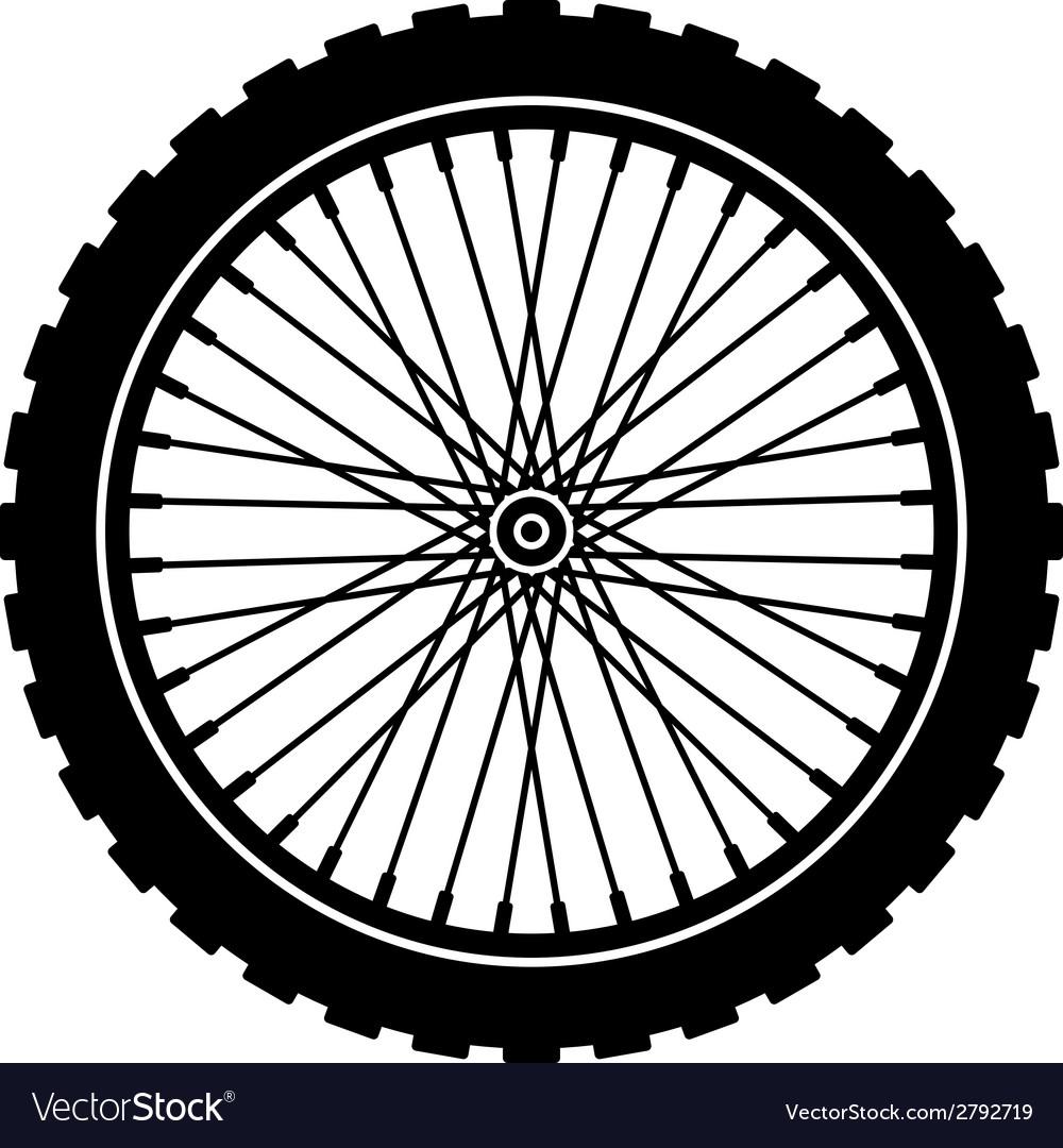 Bike wheel black silhouette vector