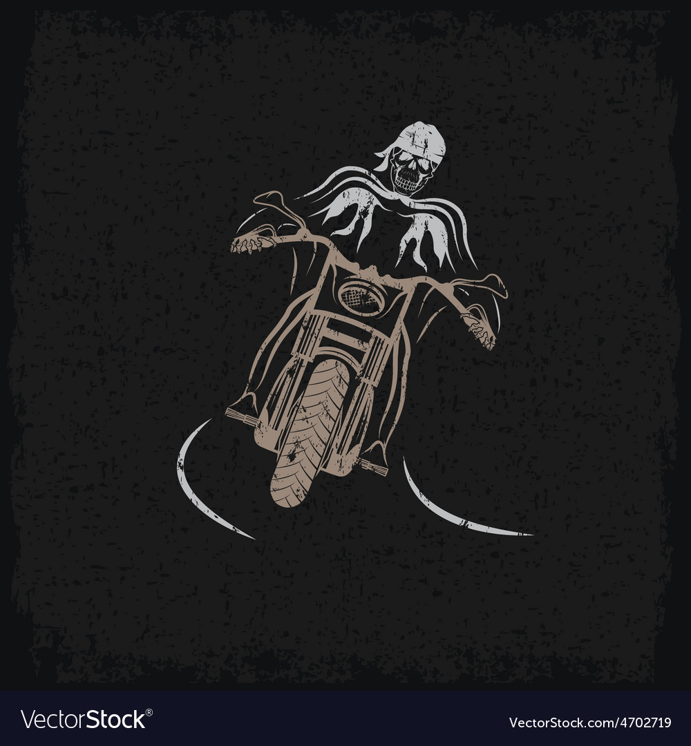 Biker theme grunge label with motorbike and skull vector | Price: 1 Credit (USD $1)