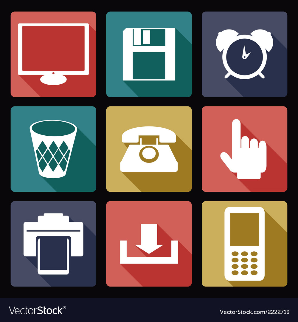 Computer flat icons 1 vector | Price: 1 Credit (USD $1)