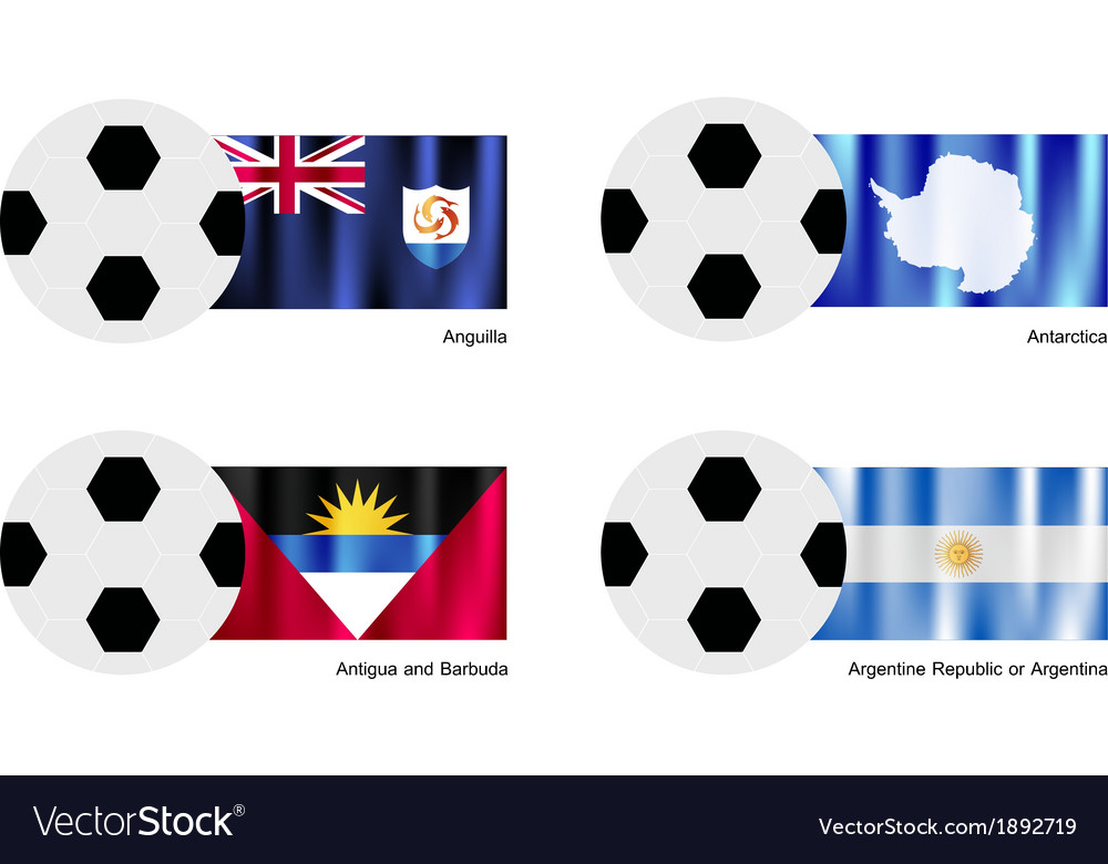 Football with anguilla antarctica antigua flag vector | Price: 1 Credit (USD $1)
