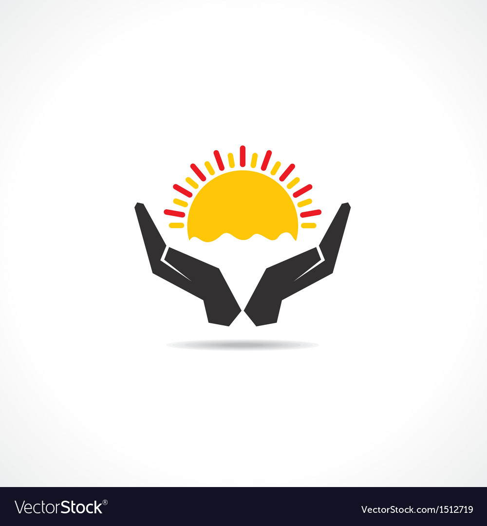 Hand protecting sun icon vector | Price: 1 Credit (USD $1)
