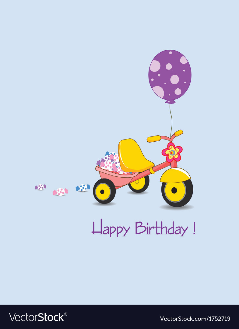 Happy birthday on with candy and balloon vector | Price: 1 Credit (USD $1)