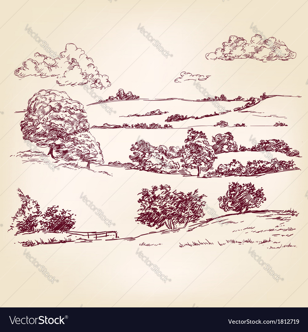 Landscape sketch drawing vector | Price: 1 Credit (USD $1)