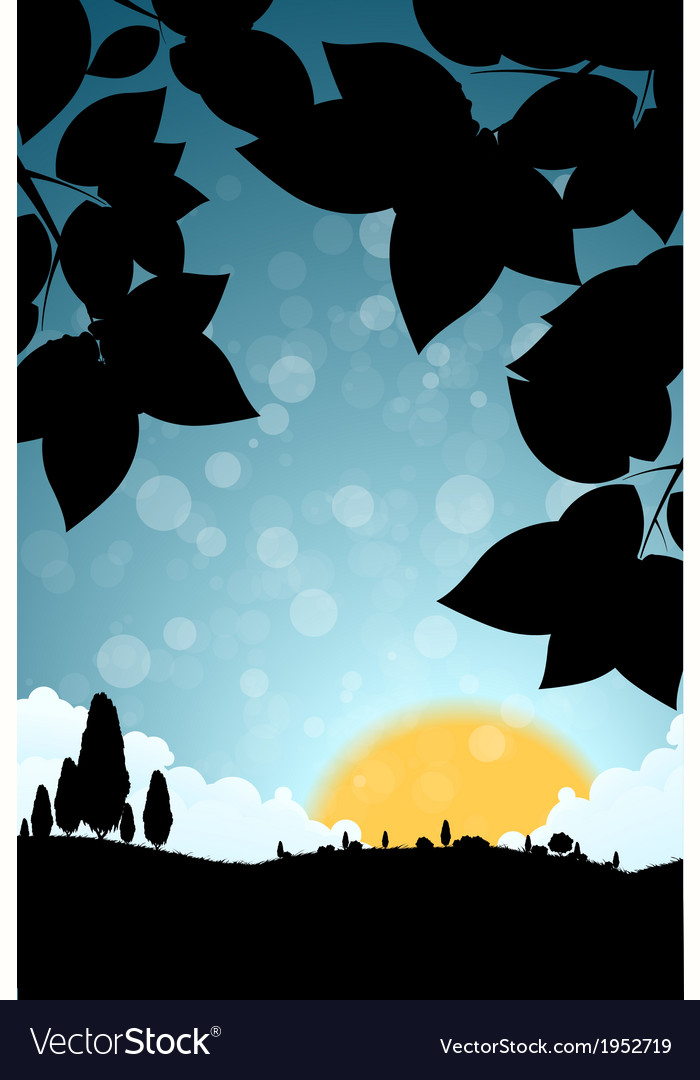 Landscape with grass clouds and trees vector   Price: 1 Credit (USD $1)