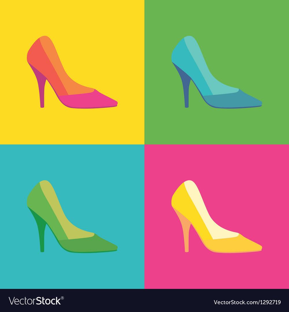 Pop art shoes vector   Price: 1 Credit (USD $1)