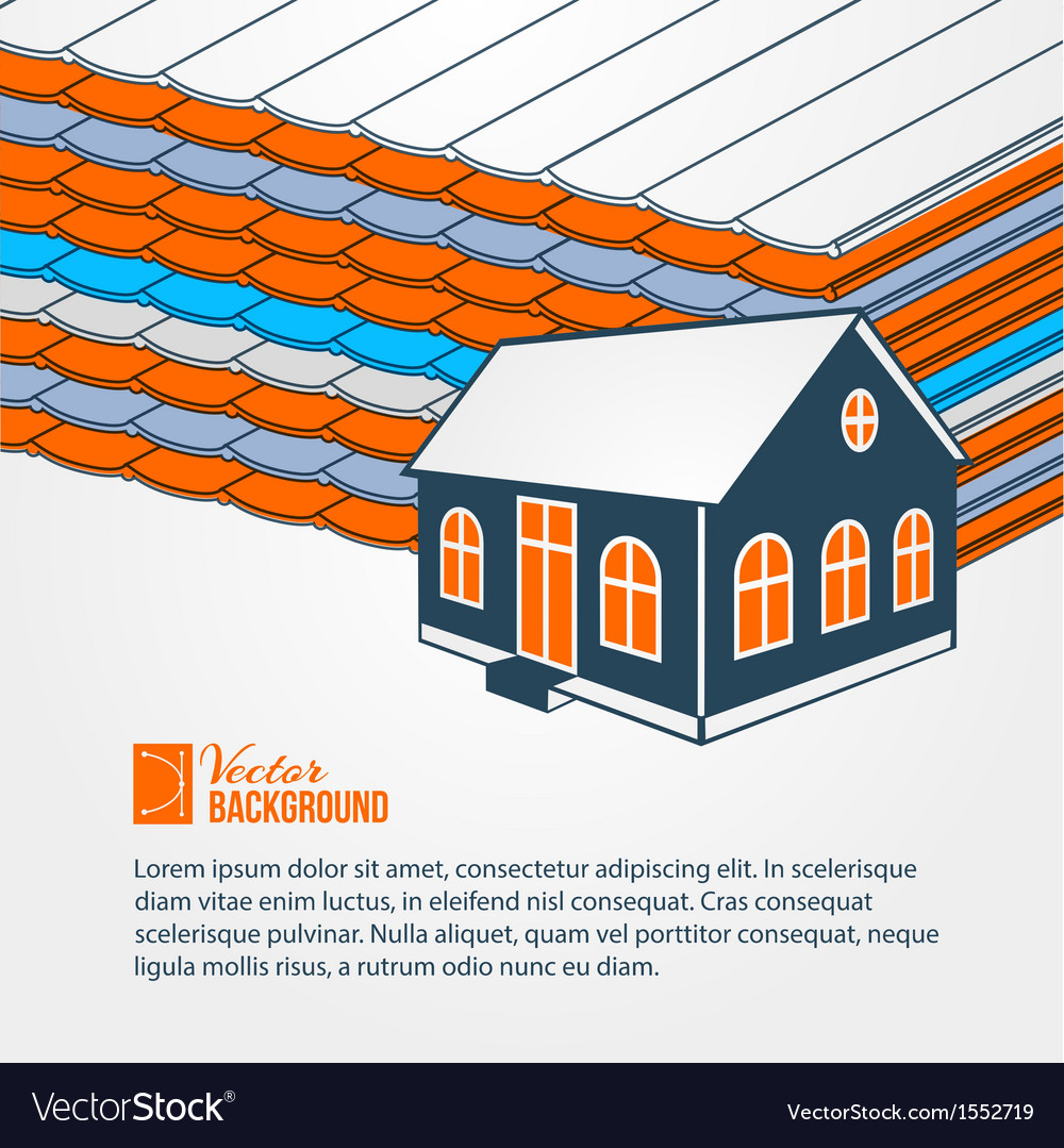 Privat hoiuse over tile roof vector | Price: 1 Credit (USD $1)