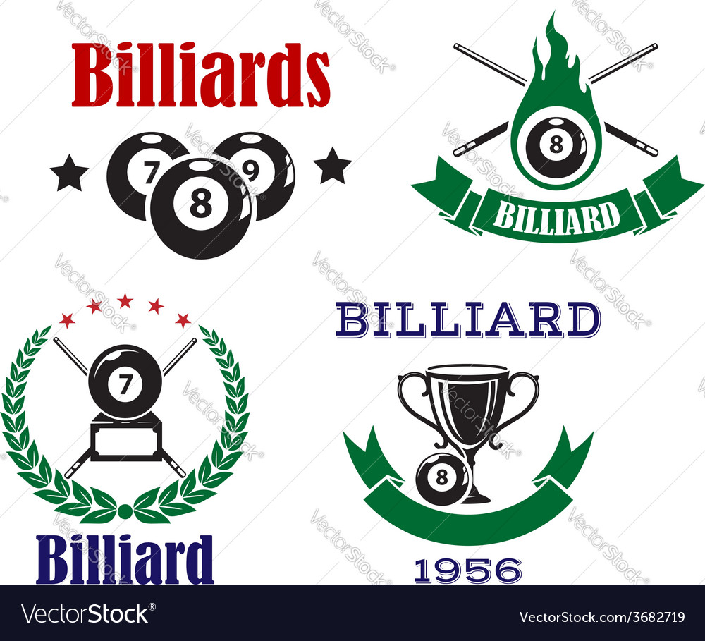 Retro emblems for billiards with cues and balls vector | Price: 1 Credit (USD $1)