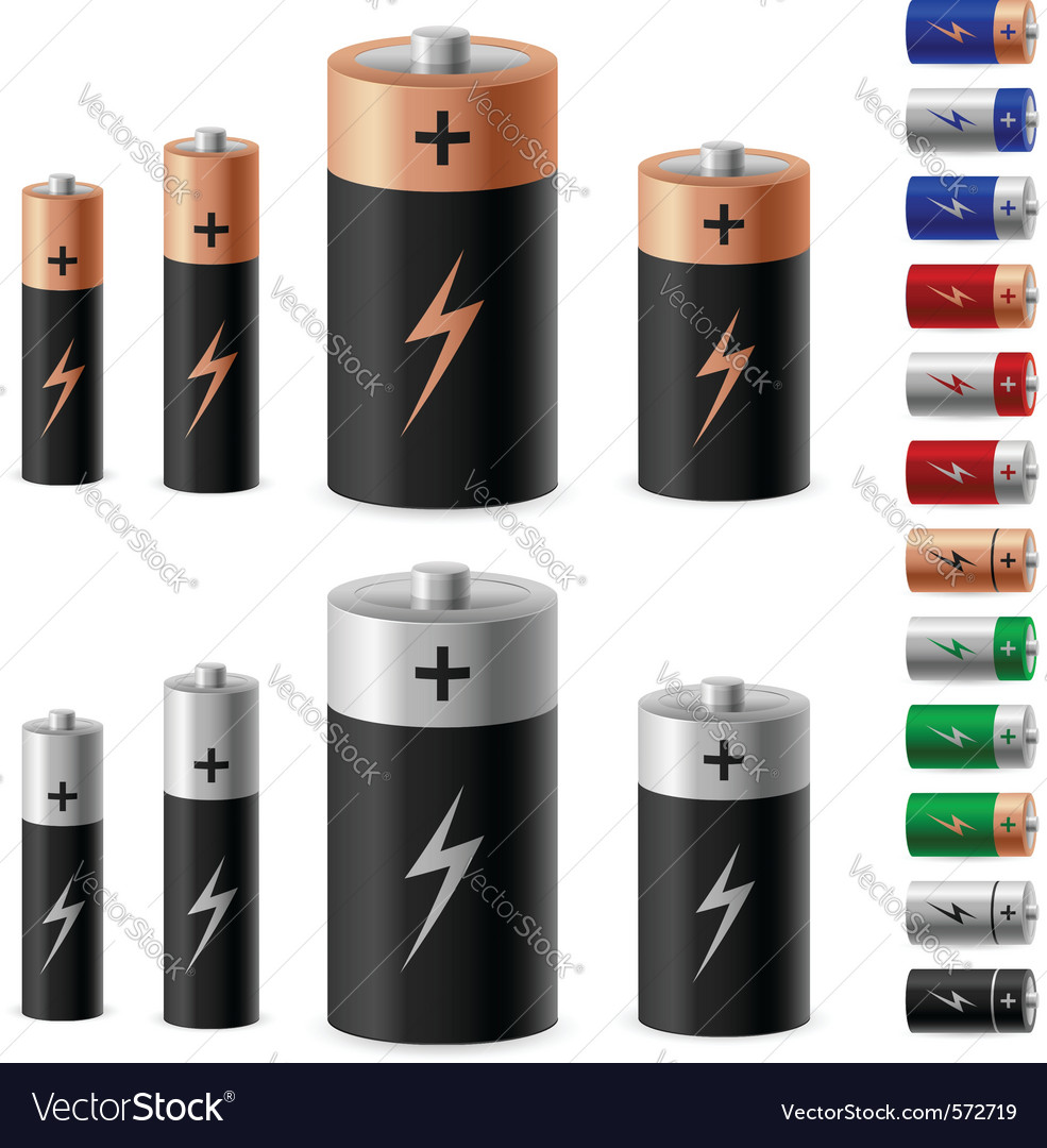 Set of battery on the white background for design vector | Price: 1 Credit (USD $1)
