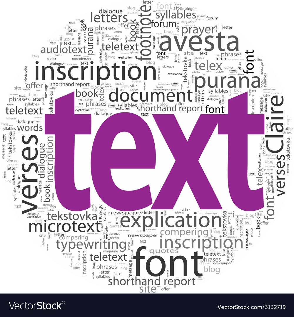 Text concept in word tag cloud isolated vector | Price: 1 Credit (USD $1)