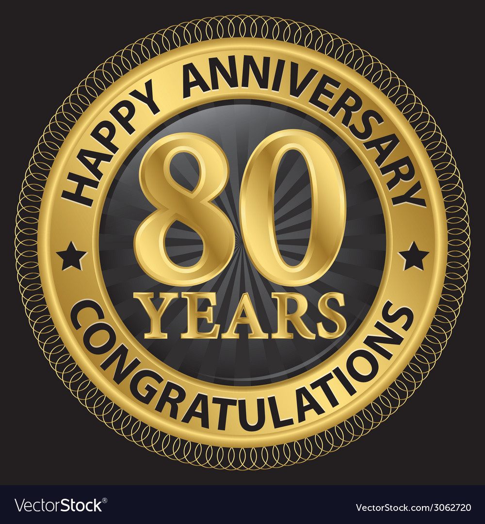 80 years happy anniversary congratulations gold vector | Price: 1 Credit (USD $1)