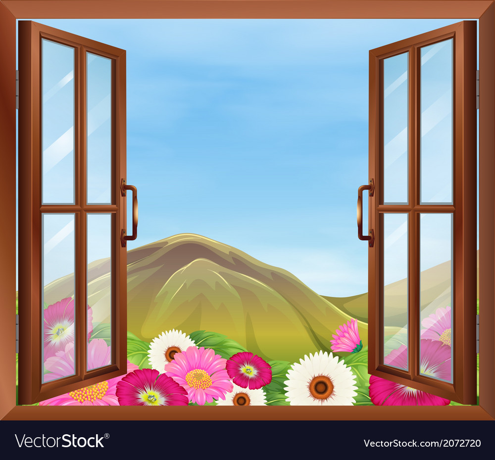 An open window with flowers outside vector | Price: 1 Credit (USD $1)