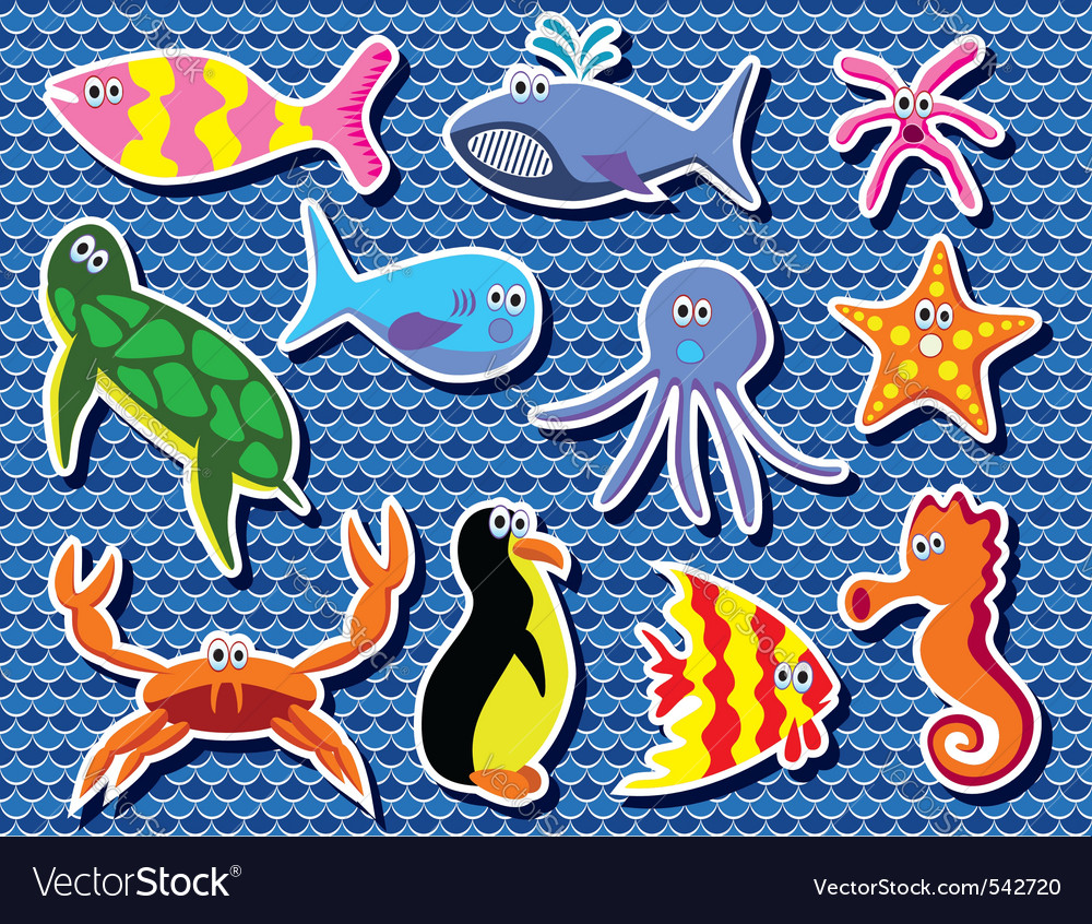 background of colorful sea animals vector | Price: 1 Credit (USD $1)
